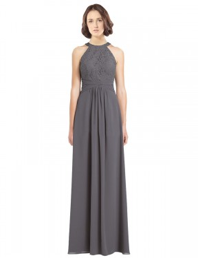 Affordable A-Line Halter Stormy Silver Chiffon & Lace Long Hailey Bridesmaid Dress Australia