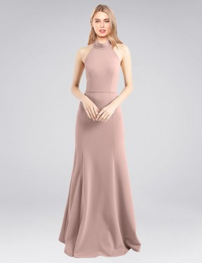 Affordable A-Line High Neck Halter Dusty Pink Stretch Crepe Long Glover Bridesmaid Dress Australia