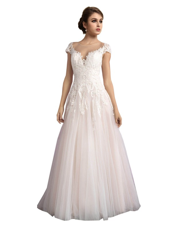 Affordable A-Line Illusion Ivory & Champagne Tulle Long Mariana Wedding Dress Australia