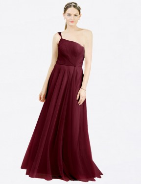 Affordable A-Line Off the Shoulder Burgundy Tulle Long Zoey Bridesmaid Dress Australia