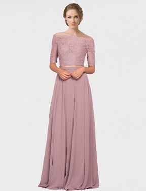 Affordable A-Line Off the Shoulder Pink Chiffon & Lace Long Louise Bridesmaid Dress Australia