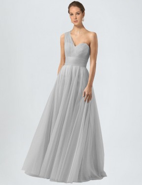 Affordable A-Line One Shoulder Silver Tulle Long Anahi Bridesmaid Dress Australia