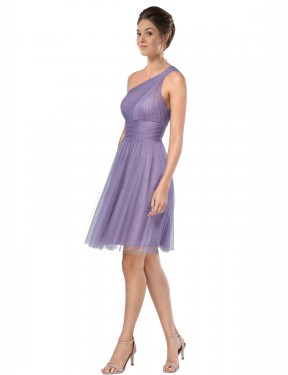 Affordable A-Line One Shoulder Watermelon Tulle Short Alessia Bridesmaid Dress Australia