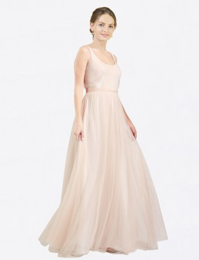 Affordable A-Line Scoop Pink Tulle Long Lily Bridesmaid Dress Australia