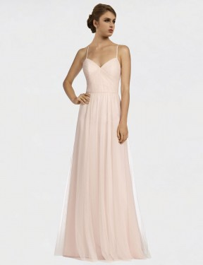 Affordable A-Line Spaghetti Straps Pink Tulle Long Jayde Bridesmaid Dress Australia