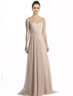 Affordable A-Line Square Nude Tulle Long Jeilyn Bridesmaid Dress Australia