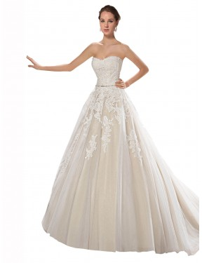 Affordable A-Line Strapless Ivory & Champagne Tulle & Lace Long Lilliana Wedding Dress Australia