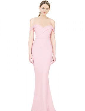 Affordable A-Line Strapless Pink Stretch Crepe Long Ayad Bridesmaid Dress Australia