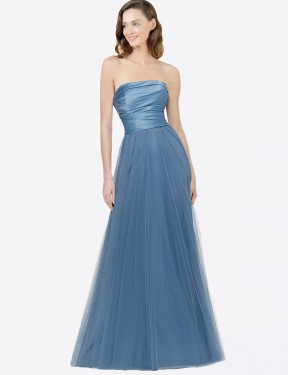 Affordable A-Line Strapless Satin & Tulle Long Donna Bridesmaid Dress Australia