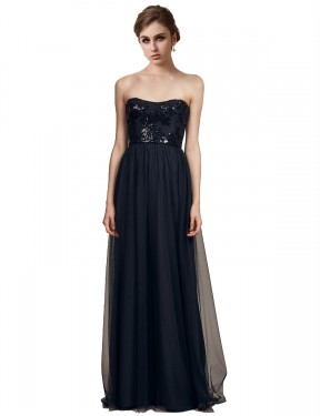 Affordable A-Line Strapless Sweetheart Black Tulle Long Reyna Bridesmaid Dress Australia