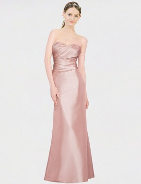 Affordable A-Line Strapless Sweetheart Pink Stretch Satin Long Whitney Bridesmaid Dress Australia