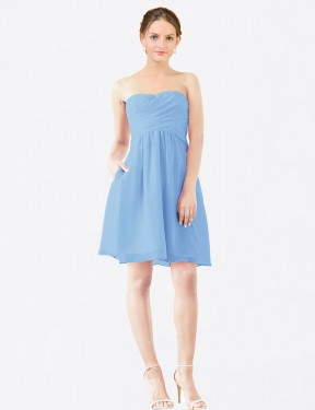 Affordable A-Line StraplessSweetheart Periwinkle Chiffon Short Avery Bridesmaid Dress Australia