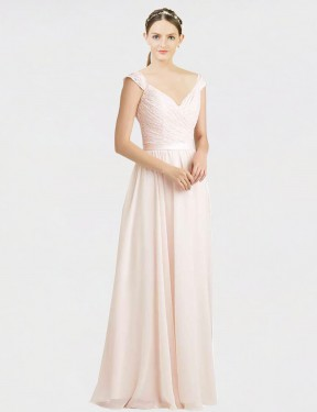 Affordable A-Line Sweetheart Cream Pink Chiffon & Lace Long Arely Bridesmaid Dress Australia