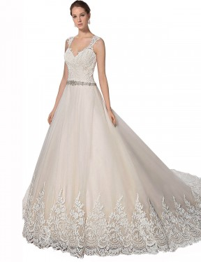 Affordable A-Line Sweetheart Ivory & Champagne Tulle & Lace Long Ember Wedding Dress Australia
