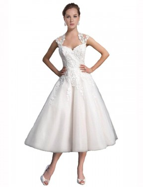 Affordable A-Line Sweetheart Ivory Tulle & Lace Short Ariella Wedding Dress Australia