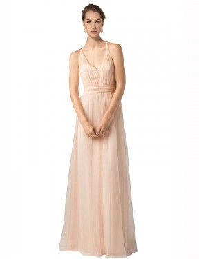 Affordable A-Line Sweetheart Nude Tulle Long Jaliyah Bridesmaid Dress Australia