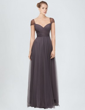 Affordable A-Line Sweetheart Pewter Tulle Long Alena Bridesmaid Dress Australia