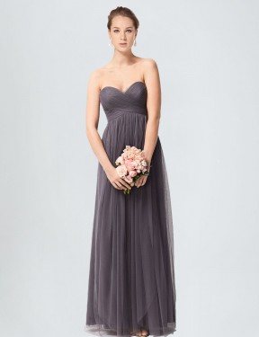 Affordable A-Line Sweetheart Pewter Tulle Long Kimber Bridesmaid Dress Australia