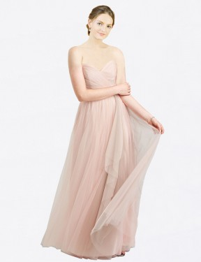 Affordable A-Line Sweetheart Pink Tulle Long Aubrey Bridesmaid Dress Australia