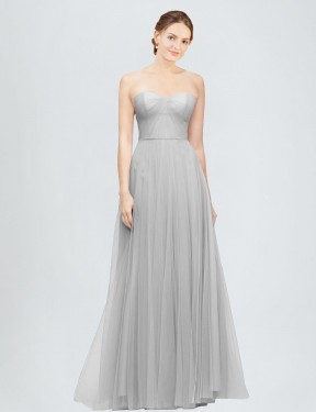 Affordable A-Line Sweetheart Silver Tulle Long Emory Bridesmaid Dress Australia