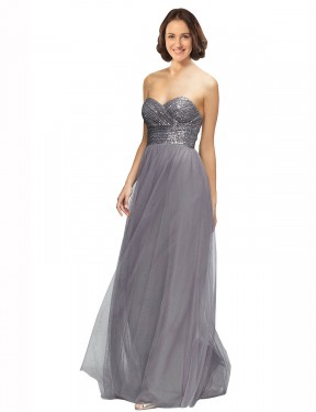 Affordable A-Line Sweetheart Strapless Grey Tulle Long Laurel Bridesmaid Dress Australia