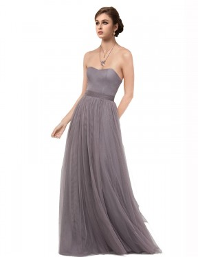 Affordable A-Line Sweetheart Strapless Pewter Tulle Long Emmy Bridesmaid Dress Australia
