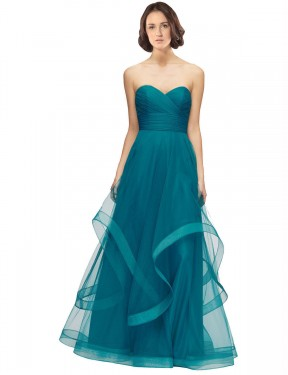 Affordable A-Line Sweetheart Strapless Turquoise Tulle Long Lacey Bridesmaid Dress Australia