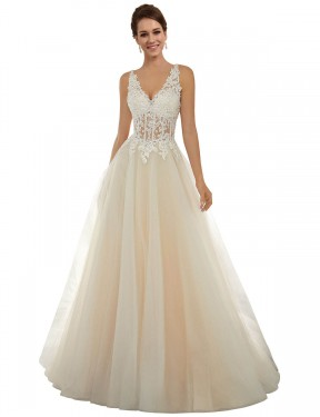 Affordable A-Line V-Neck Ivory & Champagne Lace & Tulle Long Amy Wedding Dress Australia