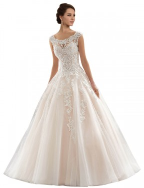 Affordable Ball Gown Bateau Ivory & Champagne Lace & Tulle Long Laila Wedding Dress Australia