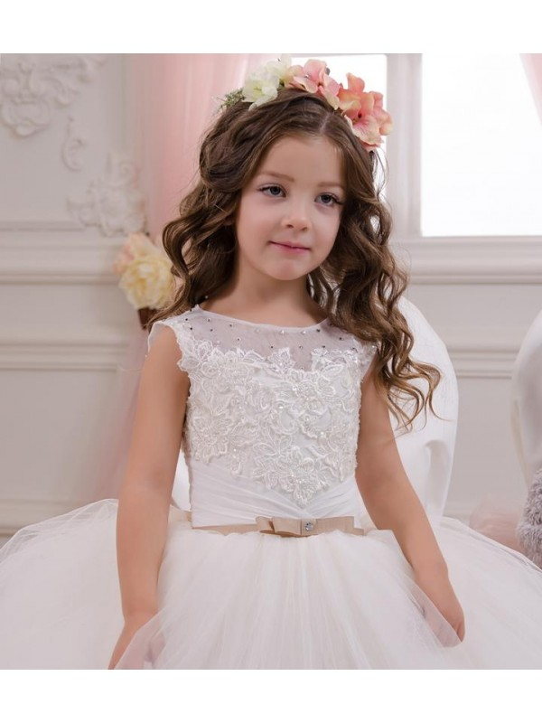 Affordable Ball Gown Bateau Ivory Lace & Tulle Long Flower Girl Dress Australia