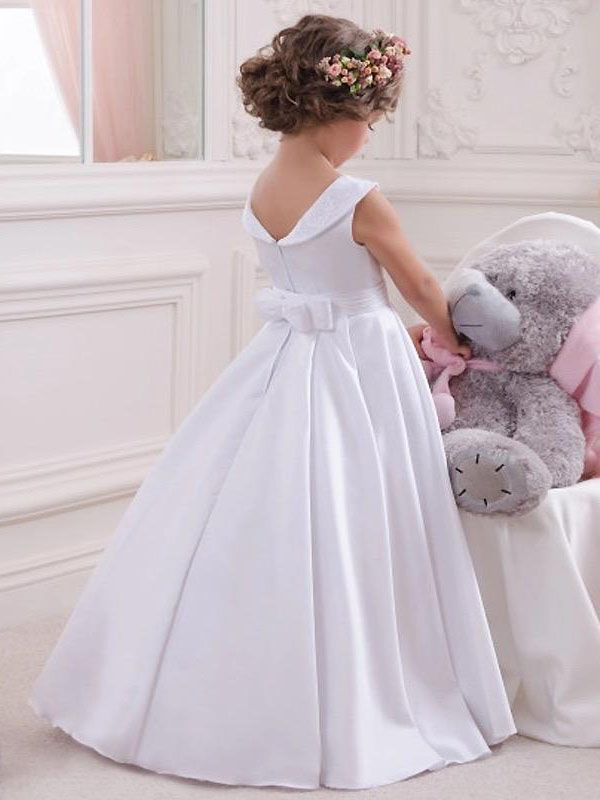 Affordable Ball Gown Bateau Ivory Satin & Lace Long Flower Girl Dress Australia