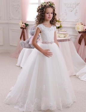 Affordable Ball Gown High Neck Ivory Lace & Tulle Long Flower Girl Dress Australia