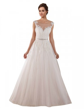 Affordable Ball Gown Illusion Ivory Tulle Long Rosalie Wedding Dress Australia