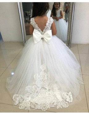 Affordable Ball Gown Ivory Lace & Tulle Long Flower Girl Dress Australia