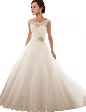 Affordable Ball Gown Off the Shoulder White Lace & Tulle Long Arabella Wedding Dress Australia
