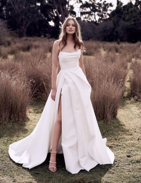 Affordable Ball Gown Strapless Scoop Ivory Satin Long Wedding Dress Australia