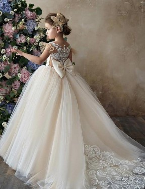 Affordable Ball Gown Sweetheart Champagne Lace & Tulle Long Flower Girl Dress Australia