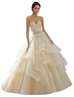 Affordable Ball Gown Sweetheart Ivory & Champagne Lace Long Adaline Wedding Dress Australia