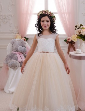 Affordable Ball Gown Sweetheart Ivory & Champagne Lace & Tulle Long Flower Girl Dress Australia