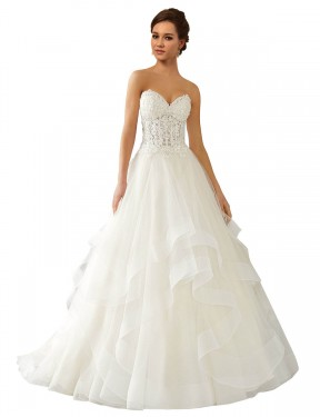 Affordable Ball Gown Sweetheart Ivory Lace & Satin & Tulle Long Reese Wedding Dress Australia
