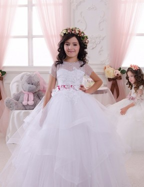Affordable Ball Gown Sweetheart Ivory Lace & Tulle Long Flower Girl Dress Australia