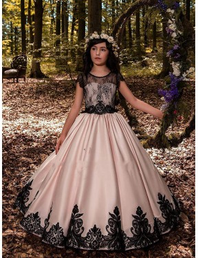 Affordable Ball Gown Sweetheart Ivory Satin & Lace Long Flower Girl Dress Australia