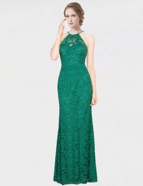 Affordable Mermaid Fit and Flare Halter High Neck Dark Green Lace Long Giovanna Bridesmaid Dress Australia