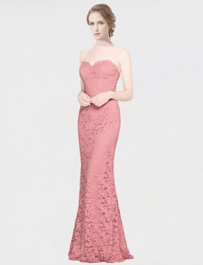 Affordable Mermaid Fit and Flare Strapless Sweetheart Pink Lace Long Joselyn Bridesmaid Dress Australia