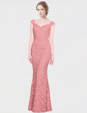 Affordable Mermaid Fit and Flare Strapless Sweetheart Pink Lace Long Paola Bridesmaid Dress Australia