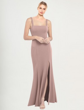 Affordable Mermaid High Neck Square Dusty Pink Stretch Crepe Long Fernella Bridesmaid Dress Australia
