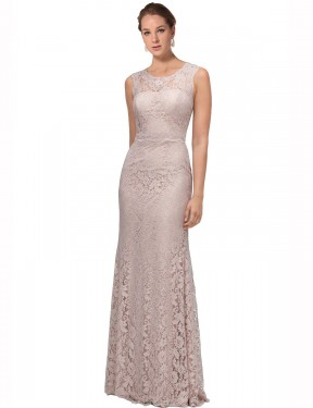 Affordable Mermaid Illusion Scoop Pink Lace Long Emberly Bridesmaid Dress Australia