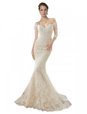 Affordable Mermaid Off the Shoulder Ivory & Champagne Lace & Tulle Long Blake Wedding Dress Australia