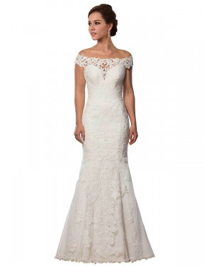 Affordable Mermaid Off the Shoulder Ivory Lace Long Michelle Wedding Dress Australia