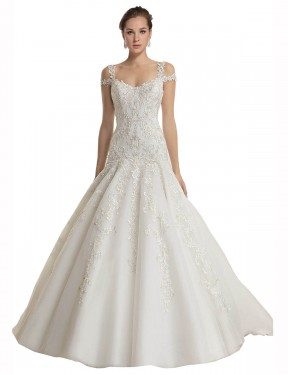 Affordable Mermaid Off the Shoulder Ivory Lace & Tulle Long Miriam Wedding Dress Australia